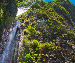 Canyoning in Madeira down the waterfall