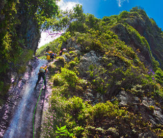 Canyoning in Madeira Islands on a sunny day