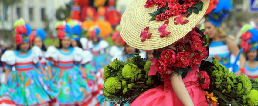 Flower dress in Madeira Flower Festival Parade