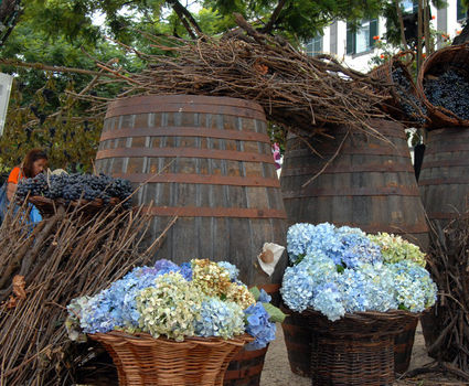 Decoration with flowers and Casks