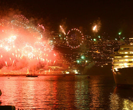 Firework at Funchal viewed from a ship